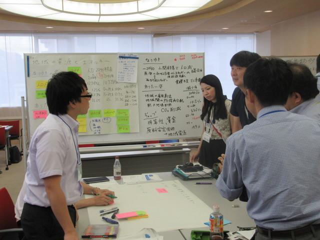 チーム活動。中間発表に向け、一段と熱心に議論しています。